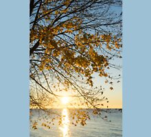 Brilliant Yellows and Blues - the Golden Maple on the Lake Shore Unisex T-Shirt