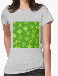Yellow Flowers on Green Womens Fitted T-Shirt