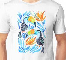 Tropical Toucans – Blue Leaves Unisex T-Shirt
