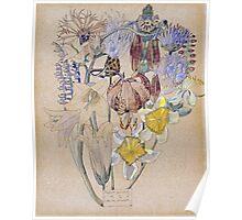 Vintage blue art - Charles Rennie Mackintosh  - Mont Louis - Flower Study Poster
