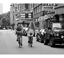 Copenhagen Lovers on Bicycles Photographic Print