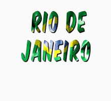 Rio de Janeiro Word With Flag Texture Women's Fitted Scoop T-Shirt