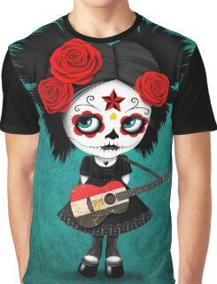 Sugar Skull Girl Playing Egyptian Flag Guitar Graphic T-Shirt