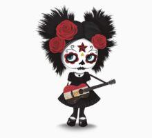 Sugar Skull Girl Playing Egyptian Flag Guitar Kids Tee