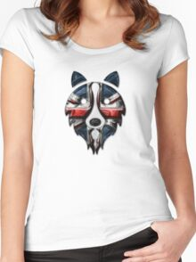 Liquid UK Border Collie Women's Fitted Scoop T-Shirt