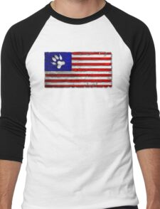 Distressed Paws & Stripes Flag Men's Baseball ¾ T-Shirt