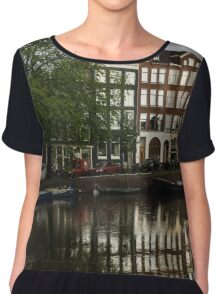 Amsterdam Canal Houses in the Rain Chiffon Top