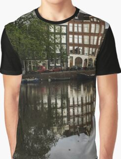 Amsterdam Canal Houses in the Rain Graphic T-Shirt