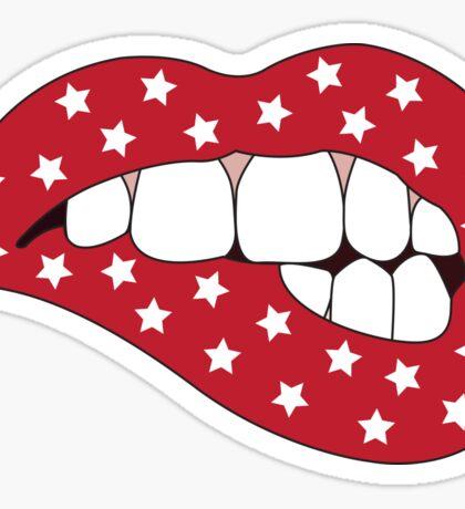 Red & White Star Lip Bite Sticker