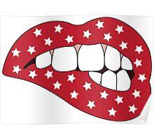 Red & White Star Lip Bite Poster