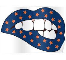 Blue & Orange Lip Bite Poster
