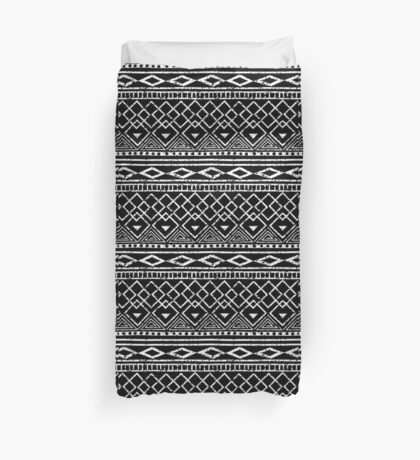 Black and White African Tribal Pattern  Duvet Cover