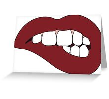 Dark Red Lip Bite Greeting Card