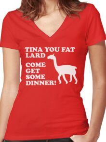 Napoleon Dynamite - Tina You Fat Lard Come Get Some Dinner Women's Fitted V-Neck T-Shirt