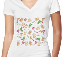Cool Summer Watercolor Painted Mixed Drinks Pattern Women's Fitted V-Neck T-Shirt