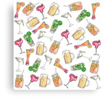 Cool Summer Watercolor Painted Mixed Drinks Pattern Canvas Print