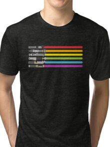 Lightsaber Rainbow Tri-blend T-Shirt