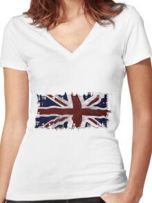 Patriotic Union Jack UK Union Flag Women's Fitted V-Neck T-Shirt