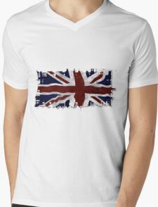 Patriotic Union Jack UK Union Flag Mens V-Neck T-Shirt