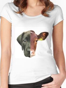 Animal Equality- dog and cow (sorry for the bad quality) Women's Fitted Scoop T-Shirt