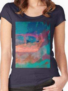 Abstract Art Throw Pillow in Blue, Green, Orange and Pink Women's Fitted Scoop T-Shirt