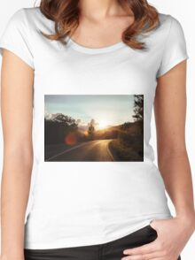 Road at sunset Women's Fitted Scoop T-Shirt