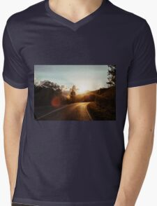 Road at sunset Mens V-Neck T-Shirt
