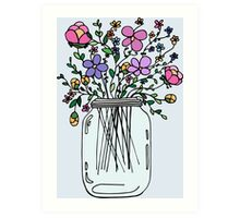 Mason Jar with Flowers Art Print