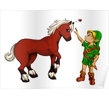 Young Link and Baby Epona Poster