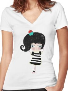 Doll la mer petite cupcake berry pirate sweet tresaure Women's Fitted V-Neck T-Shirt