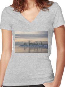Two Swans, Sleeping - Serene Winter Lake Scene Women's Fitted V-Neck T-Shirt