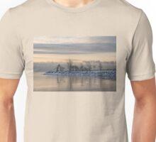 Two Swans, Sleeping - Serene Winter Lake Scene Unisex T-Shirt
