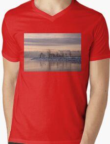 Two Swans, Sleeping - Serene Winter Lake Scene Mens V-Neck T-Shirt
