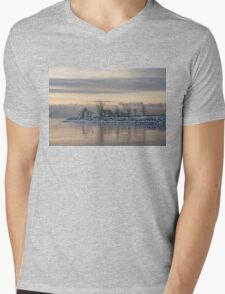 Two Swans, Sleeping - Serene Winter Lake Scene Mens V-Neck T-Shirt