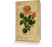 Botanical print, on old book page - flowers - roses Greeting Card