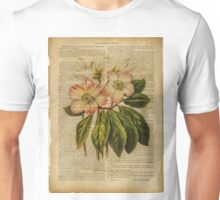 Botanical print, on old book page - flowers Unisex T-Shirt