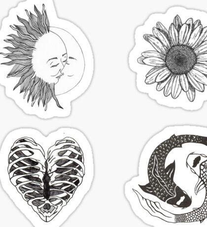 Black and White Stickers Sticker