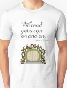 """The road goes ever on and on"" Hobbit Print T-Shirt"