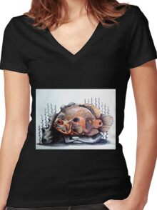 orange & black fish art Women's Fitted V-Neck T-Shirt