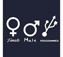 Female, Male and Programmer  Photographic Print