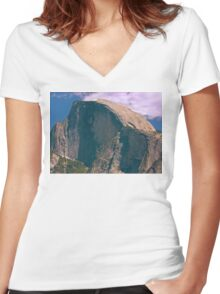 Half Dome Yosemite NP  - The Last of the Snow Women's Fitted V-Neck T-Shirt