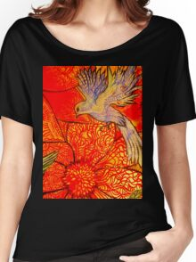 tropical bird with orange flower Women's Relaxed Fit T-Shirt