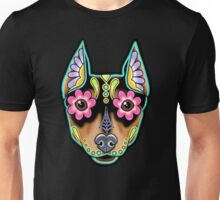 Min Pin Day of the Dead Miniature Doberman Pinscher Sugar Skull Dog Unisex T-Shirt
