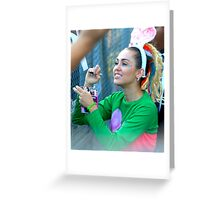 Miley Cyrus Signing Autographs Greeting Card