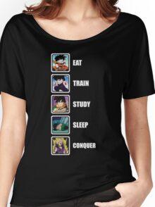 Eat, Train, Study, Sleep, Conquer (Gohan, Vertical) Women's Relaxed Fit T-Shirt