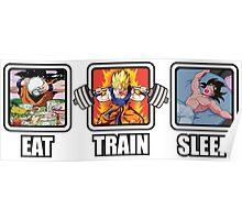 Eat, Train, Sleep (Goku Squat) Poster