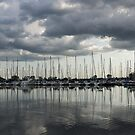 Yachts and Sailboats - the Silvery Calmness of Grays by Georgia Mizuleva