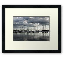 Yachts and Sailboats - the Silvery Calmness of Grays Framed Print