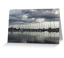 Yachts and Sailboats - the Silvery Calmness of Grays Greeting Card