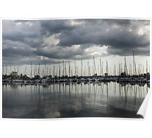 Yachts and Sailboats - the Silvery Calmness of Grays Poster